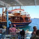 Volcanic Experiences group taking lunch at a taverna on Therasia
